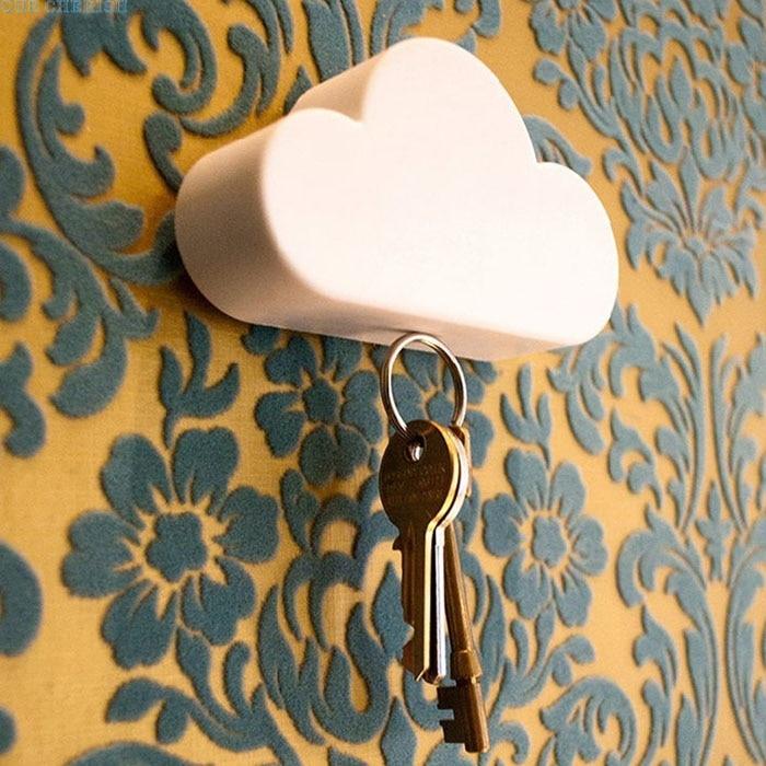 Creative Novelty Home Storage Holder White Cloud Shape Magnetic Magnets Key Holder