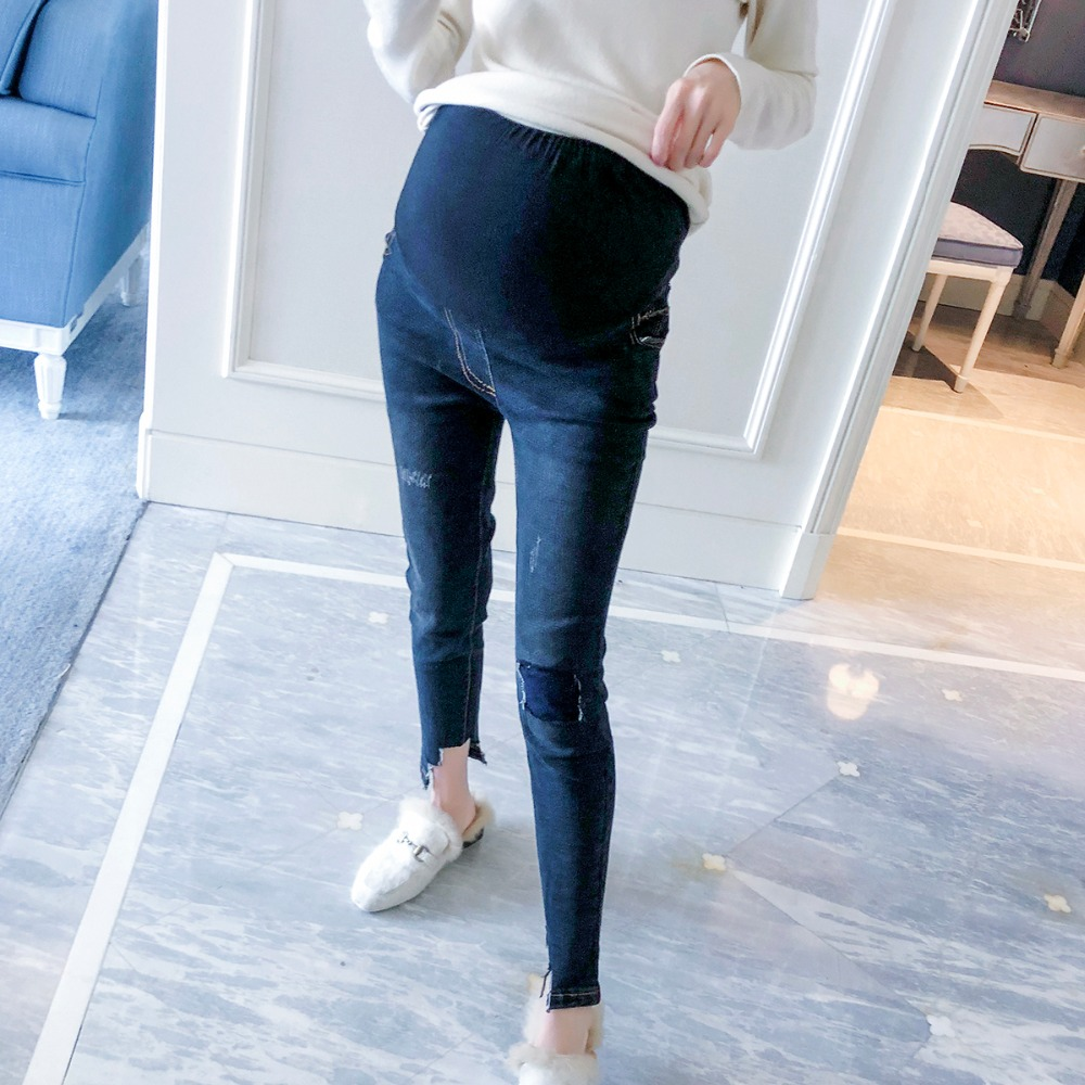 Pregnant women jeans 2018 spring and autumn new fashion wild trousers wear thin nine pants pants stomach pants afs jeep 2017 fashion denim pants mens thin cropped trousers overalls jeans man loose jeans mans wear plus size 38 40 42 44