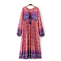 Women Floral Printed Boho Beach Summer Long Dress Lace Up V Neck Lantern Sleeve Casual Loose