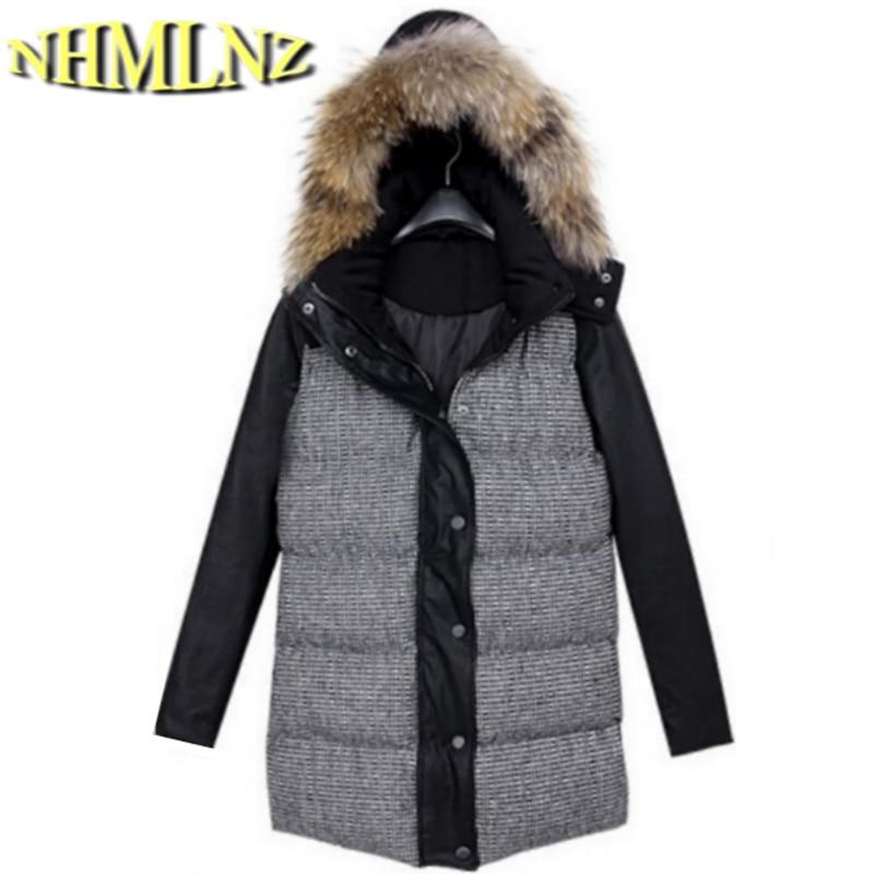 Latest Winter Fashion Women Coat Fur collar Hooded  Splicing Medium long Coat Add cotton Keep warm Slim Big yards Coat G1942 цены онлайн