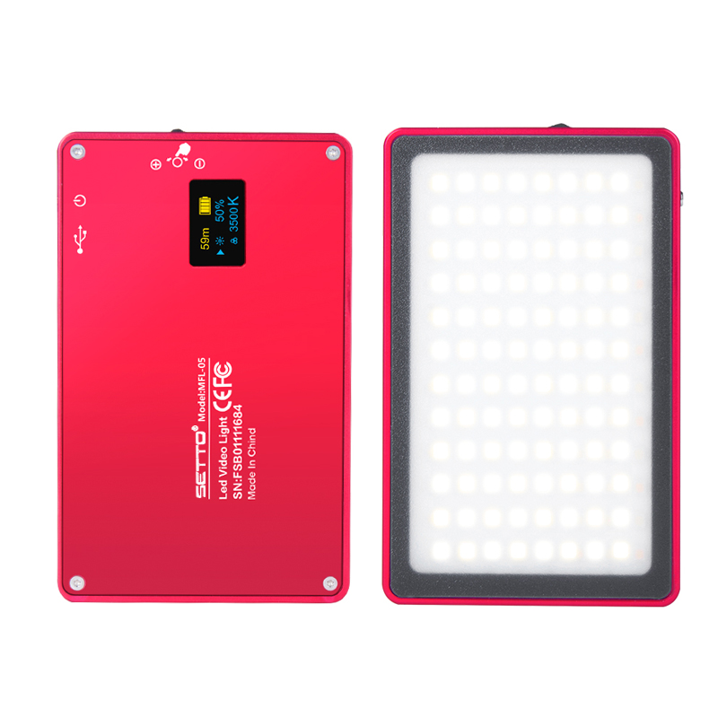 Ultra Thin Aluminum Dimmable OLED Display 96 Pcs LED Video Light with Battery CRI96+ Bi-Color for DSLRs as Aputure AL-MX Iwata