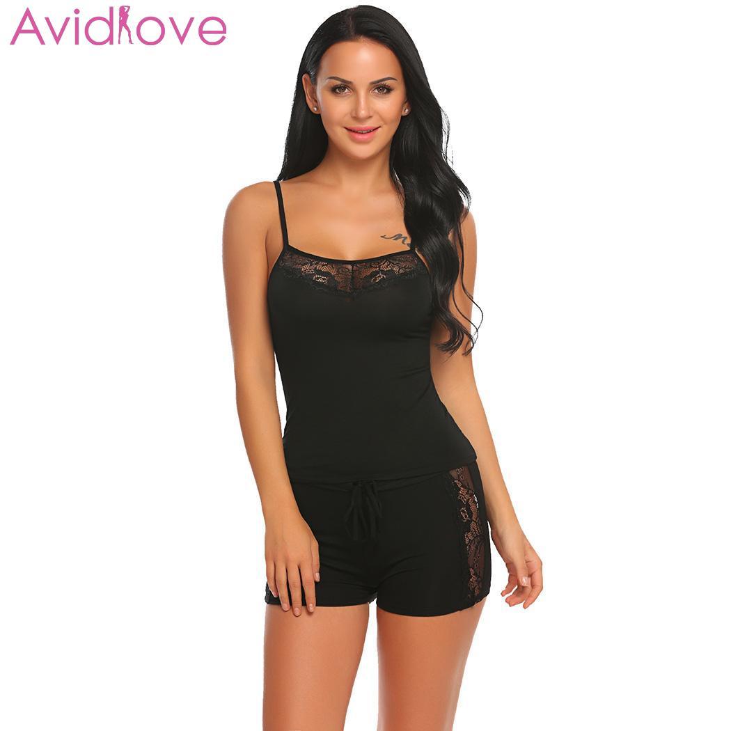 a12181a1c3 Avidllove Women s Pajamas Elastic Patchwork Nightgown Lace Summer Waist  Lingerie Sleepwear Shorts Set Nightwear Home Clothes