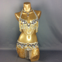 Wholesale New Belly Dance Costume Set BRA Belt 2 Piece Set Accept Any Size