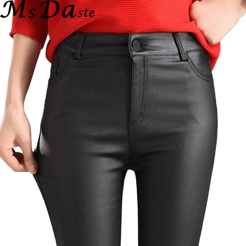 2019 Winter Women Faux Leather   Pants   &   Capris   PU Elastic High Waist Trousers Stretchy Slim Pencil   Pants   Leggings Female Black