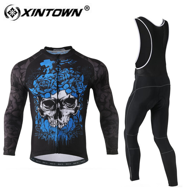 XINTOWN Cycling Jersey Set Bike Team Men Outdoor Ropa Ciclismo cycling clothing Bib PantsLong Sleeves Riding Jersey Trouses