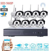 HD Video Surveillance 960P IR CUT Outdoor Waterproof Security Camera System 8Channel CCTV DVR System NVR