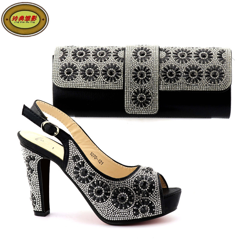 1070-421 High Class Fashion Rhinestone Shoes And Bag Set Newest African Women High Heels Pumps Matching Purse For Wedding