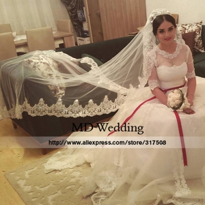 Image 2 - Real Photos 2018 White/Ivory Wedding Veil 3M With Comb Lace Beads Mantilla Bridal Veil Wedding Accessories Veu De Noiva MD47