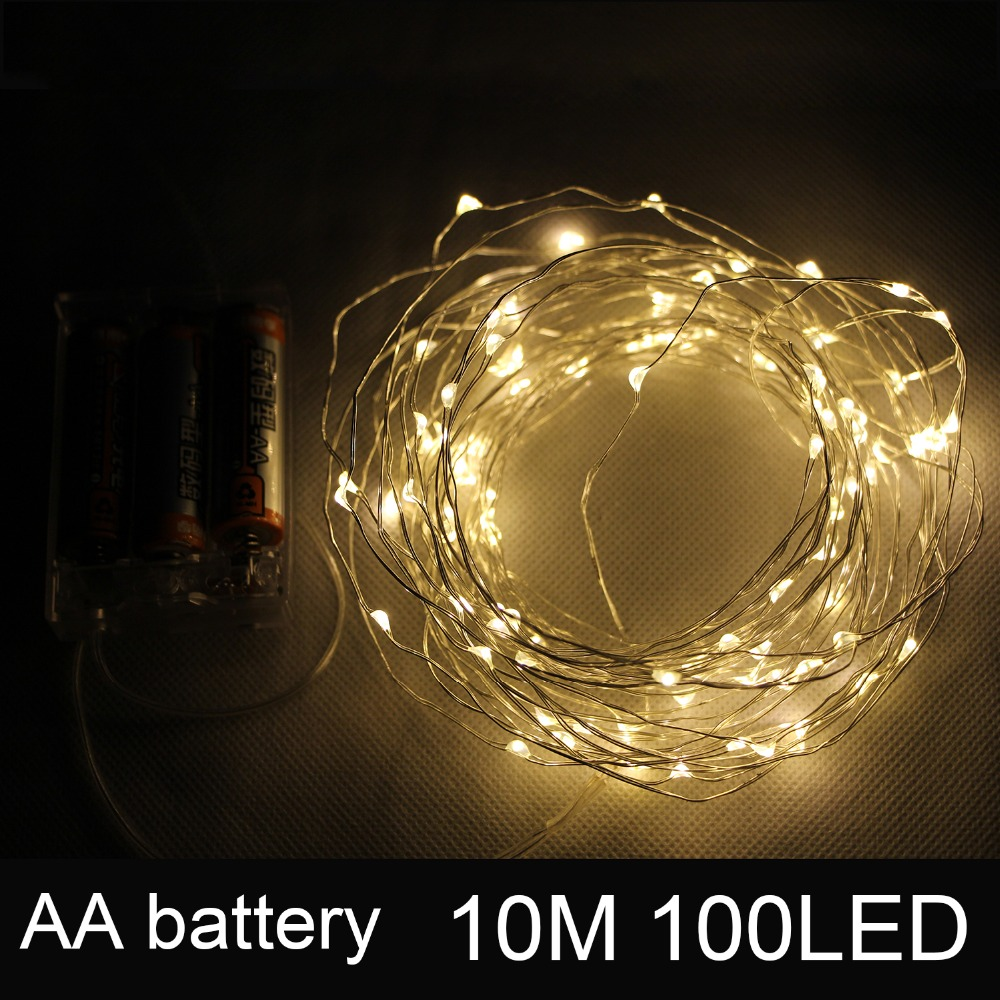 10M 33FT 100 Led Battery Powered Operated LED Copper Wire Fairy String Lights Christmas Garland Holiday Wedding Party Decor