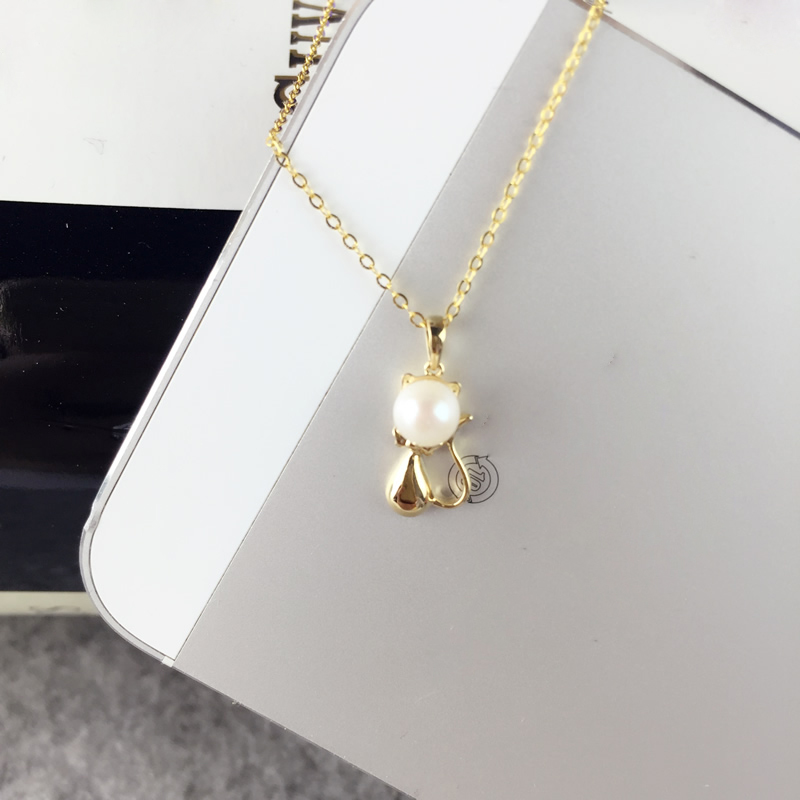 AINUOSHI 18K Yellow Gold Natural Cultured Freshwater Pearl Pendant Necklace Mouse Pendant Pearls 4.5-5mm Valentine's Day Present edi genuine natural freshwater pearls 5mm 100