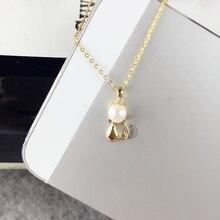 Ainuoshi 18 К желтого золота натуральный культивированный пресноводный жемчуг кулон Цепочки и ожерелья Мыши кулон жемчуг 4.5-5 мм Святого Валентина подарок на день