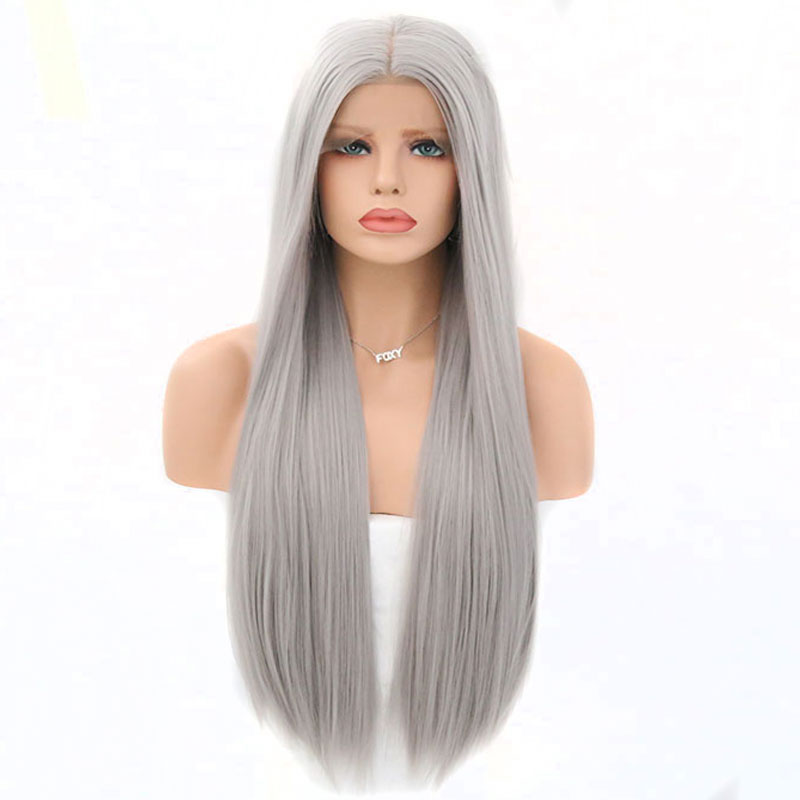 Bombshell Long Straight Gray Synthetic Lace Front Wig Silver Grey Soft Natural Hairline Heat Resistant Synthetic