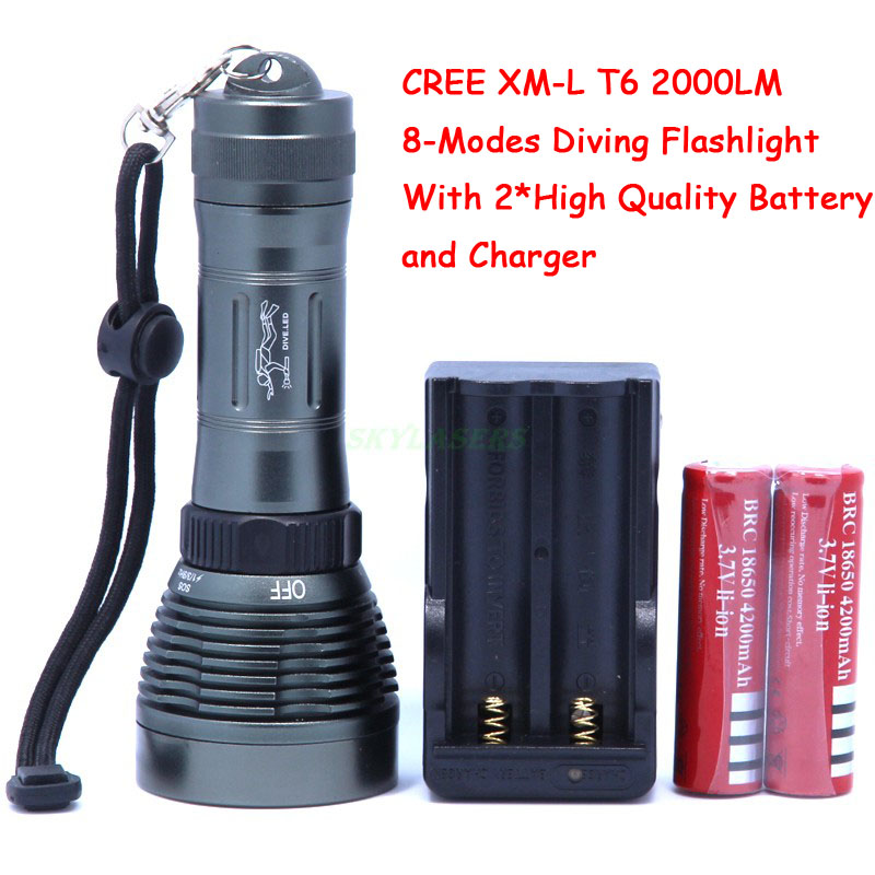 Underwater  XM-L T6 2000LM 8-Mode LED Diving Flashlight Torch Waterproof 80m White Light LED With 2*18650 Batteries&Charger