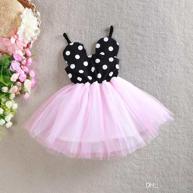 34eb747cb1645 Cute Girls Mickey Polka Dot Suspender Tutu Dress Summer Baby Ruffles  Princess Party Dress Wholesale 5pcs/lot