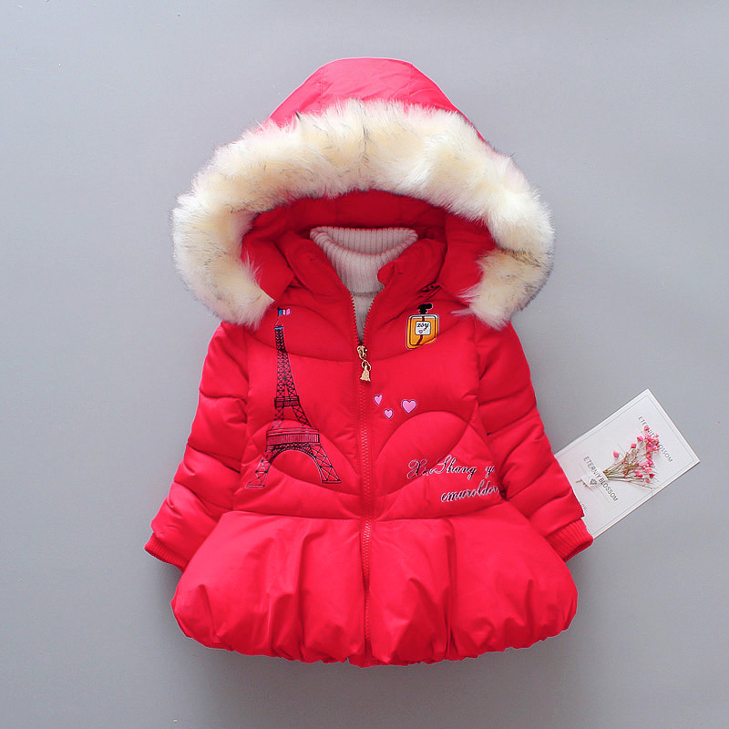 Girls Winter Thicken Clothing Baby Girls Winter Coat Stand Collar with Hooded Carton Pattern Outwear Down Jacket Coat for 2-5Y elegant stand collar pockets design pure color coat for men