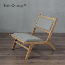 HC Nordic rural wind oak wood frame a beauty of the French simple retro Mianma cloth sofa seat