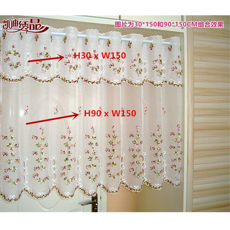Half Curtain Embroidered Valance Lace Crochet gauze Flower Countryside Style Tulle for Cupboard Kitchen Cabinet Door Wallet|embroidered valance|valances styles|curtains embroided -