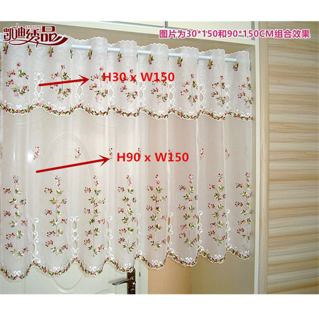 Medio bordado cortina cenefa Encaje crochet gasa flor rural estilo ...