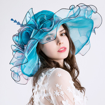 2018 the new European and American ladies' hat, Eugen gauze screen hat and sunshade hat.