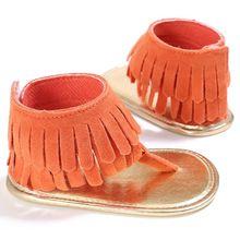 2019 Verão Bebê Recém-nascido Da Criança Meninas Sapatos Anti-slip do Falhanço de Aleta do Verão Borla Prewalker 0-18 M Para bebê Menina