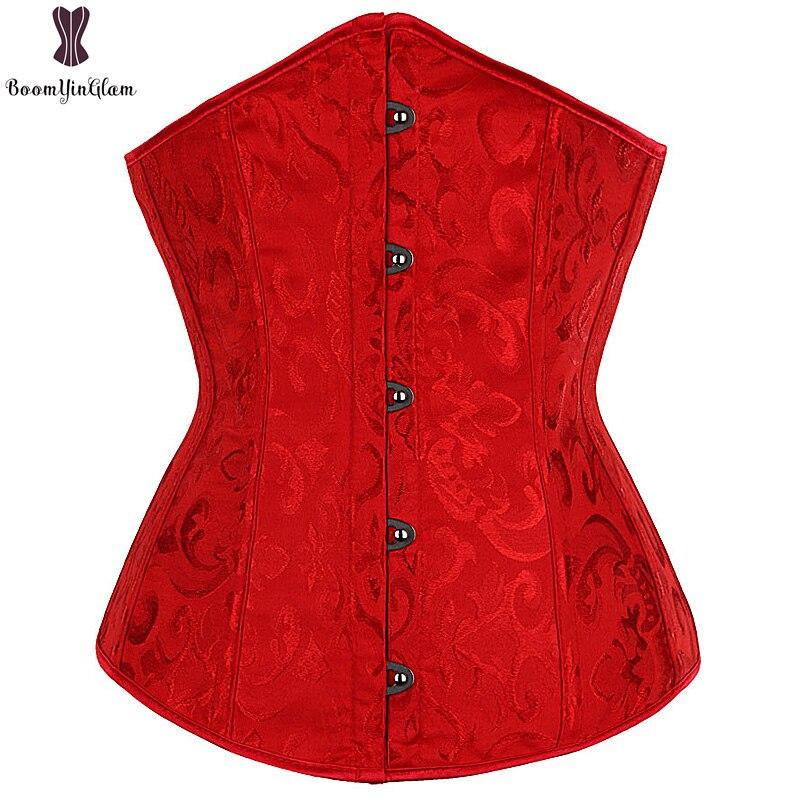 d12e4971d4 Sexy Red Floral Corset Top Underbust Busiter Push Up Corselet Elastic Boned  Corsets Women Outwear Korset Solid Waist Cincher