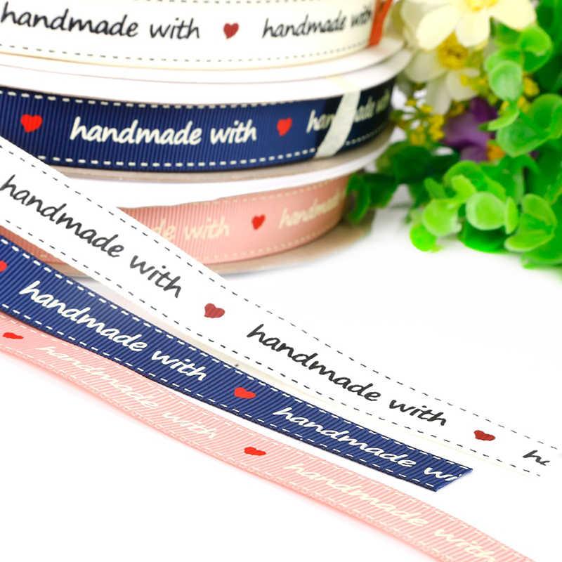 """3/5 หลาริบบิ้นสีขาว/สีชมพู/น้ำเงิน """"Hand made"""" พิมพ์ริบบิ้น Grosgrain สำหรับ DIY Handmade วัสดุงานแต่งงาน"""