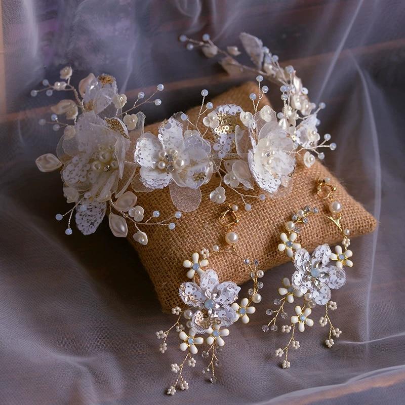 European Soft White Flower Bridal Headbands Tiaras with Earring Wedding Hairbands Evening Head Wear Wedding Hair Accessory