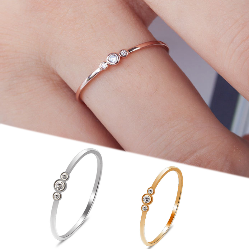 Jewelry-Ring Crystal Engagement Bridal Silver Wedding Gold-Color Women Simple