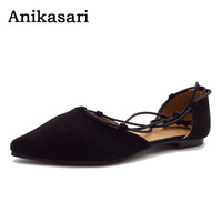 Anikasari 2017 New Shoes Woman Pointed Toe Women Flats Fashion Lace Up Ballerinas Ladies Shoes Plus