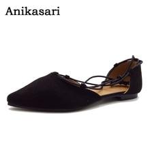 Anikasari 2017 Új cipő Női divatos női női ruhák Divat Lace-up ballerinas Női cipő Plus Size 40-43 zapatos mujer