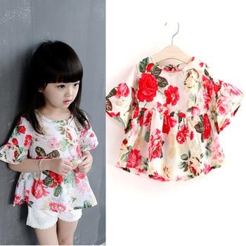 Beautiful Flower Children Girl Shirt Summer Chiffon Kids Girls