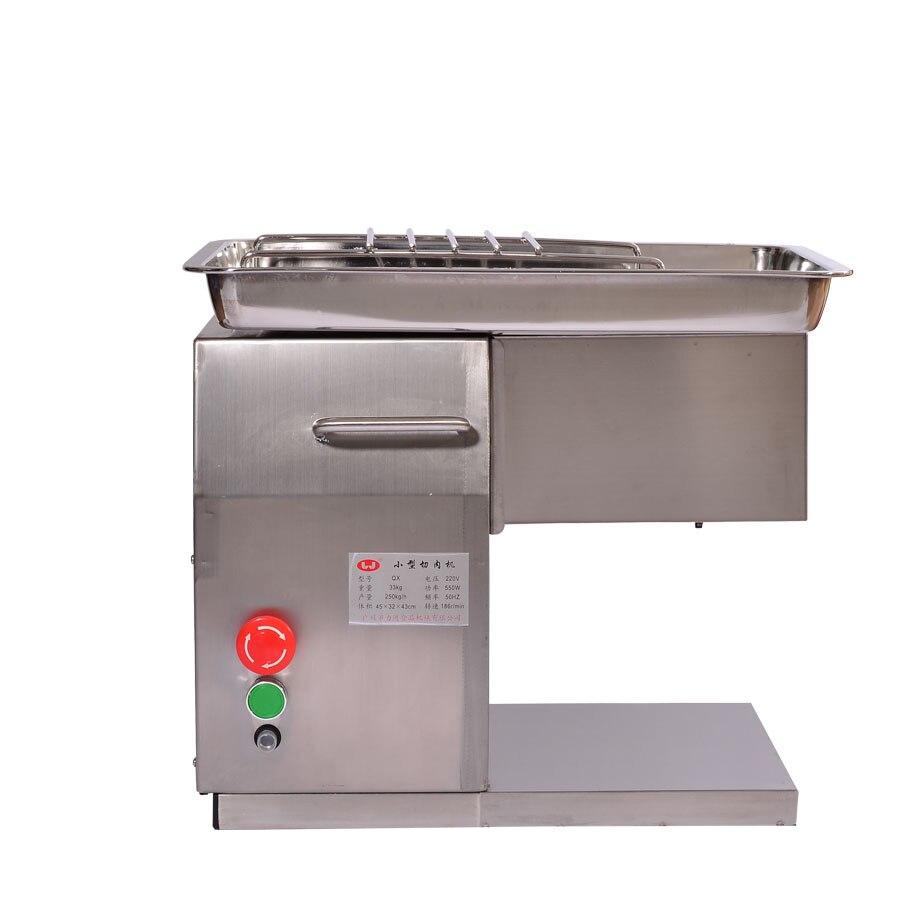 Área de Trabalho do Cortador De Carne Cortador de Carne elétrico de Aço inoxidável Máquina de Corte De Carne com o Inglês manual 2.5-10mm lâmina 110 v/220 v QX