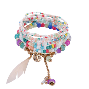 2019 unique Fashion Feather friendship Bracelets & Bangles For Women Jewelry Christmas Gift Crystal Beads Boho Bracelet Femme(China)