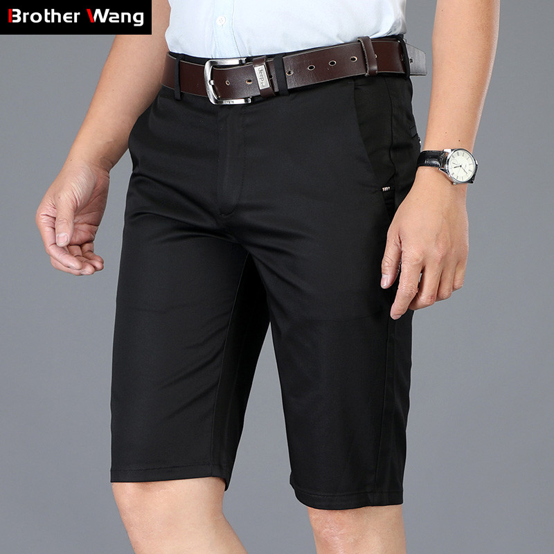 Classic Style Summer Men's Slim Casual Shorts 2019 New Business Fashion Solid Color Elastic Force Cotton Khaki Short Pants Brand