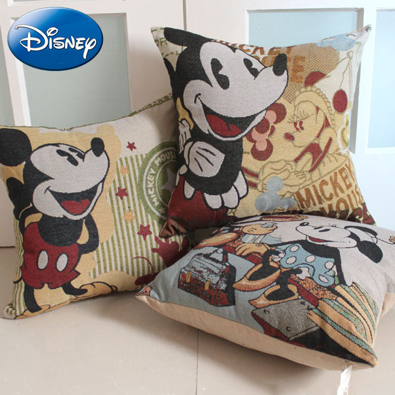 Disney Kids Mickey Mouse Pillow Cartoon Printed Child New 45cm*45cm Fall Linen Office Home Pillow Cover Home Decorative Gift charming cartoon animal printed square new pillow case(without pillow inner)