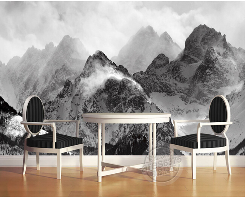 The latest 3D wallpaper, black and white mountains and clouds de parede Papel, the sofa wall bedroom wall paper black clouds &amp silver linings cd