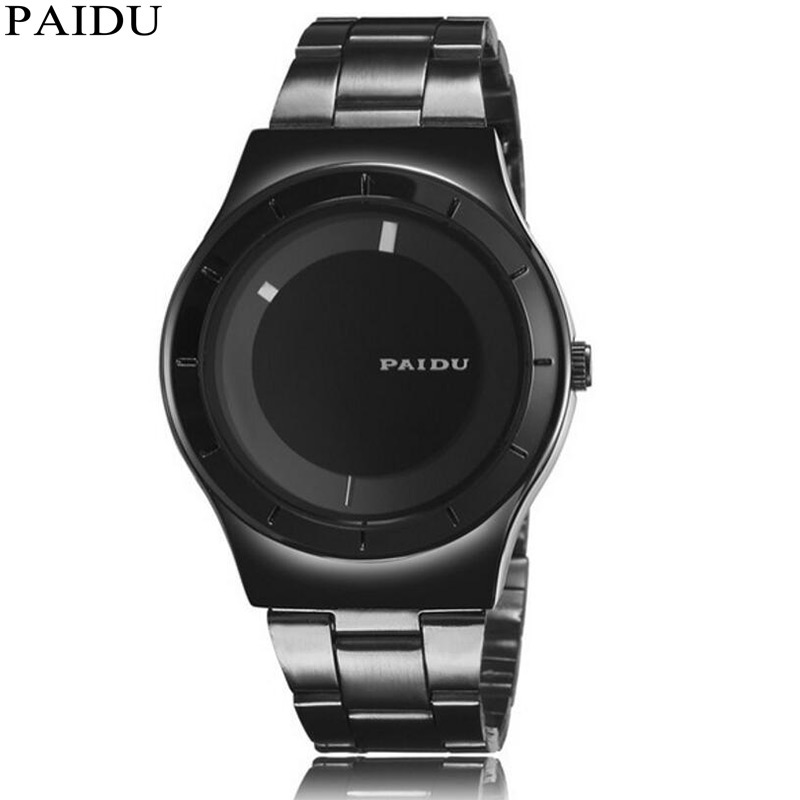 Turntable Dial Simple Creative Dial Stainless Steel Band Quartz Minimalist Unisex Watch Mens Women Wrist Watches Gift