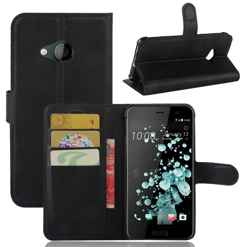 Phone Cover For HTC U Play New Litchi PU Leather Case For HTC U Ultra Flip Cover with Stand