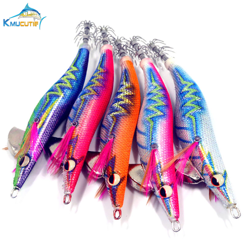 3.5# luminous squid hook Japan cloth noise squid jigs wood shrimp exported to Asia new design jigging fishing lures