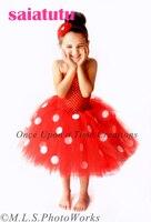 Tutu tulle druhna dla dzieci flower girl suknia ślubna puszyste tkaniny urodzinowy wieczór balu suknia balowa dot red krótki rainbow sukienka