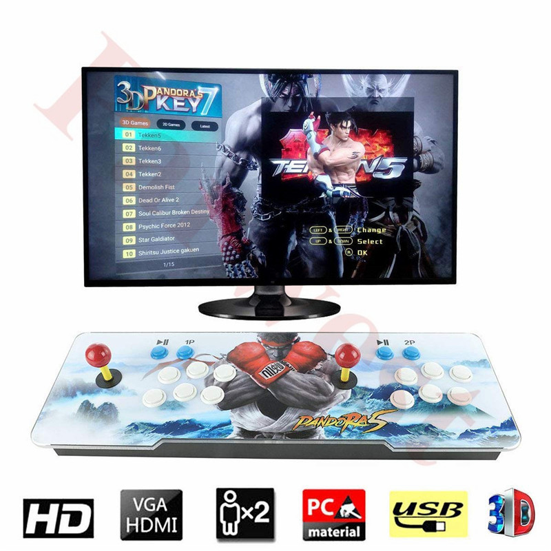 2018 Newest 3D Pandora 7 Arcade Game console 2177 in 1 Home Game LED controller with