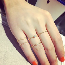 2019 New Fashion Women Vintage Water Ripple Hollow Geometric Joint Rings Set Party Charm Jewellery Finger Tail Rings Girl Gifts(China)