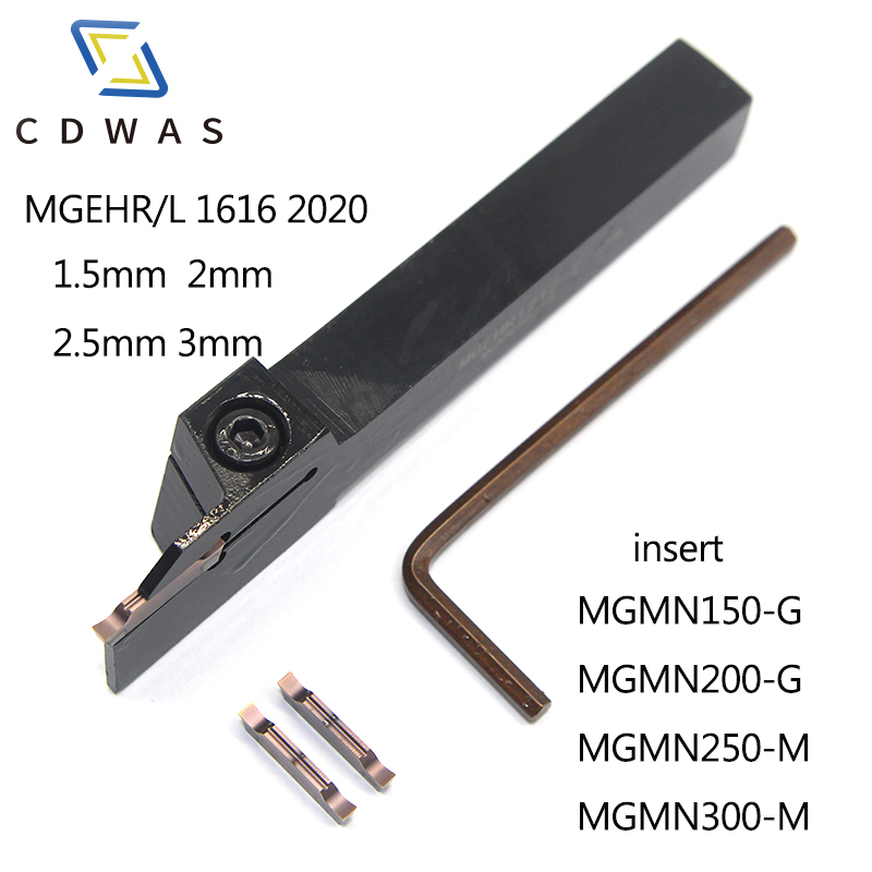 1PC MGEHR MGEHL 1616 2020 1.5 2 2.5 3 grooving turning tool holder with 10pcs mgmn 150 200 250 300 pc9030 nc3020 groov insert