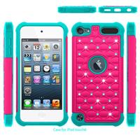 MOQ 1pc Touch5 Touch6 Bling Diamond Starry Rubber PC Silicone Hybrid Armor Case Cover For Apple