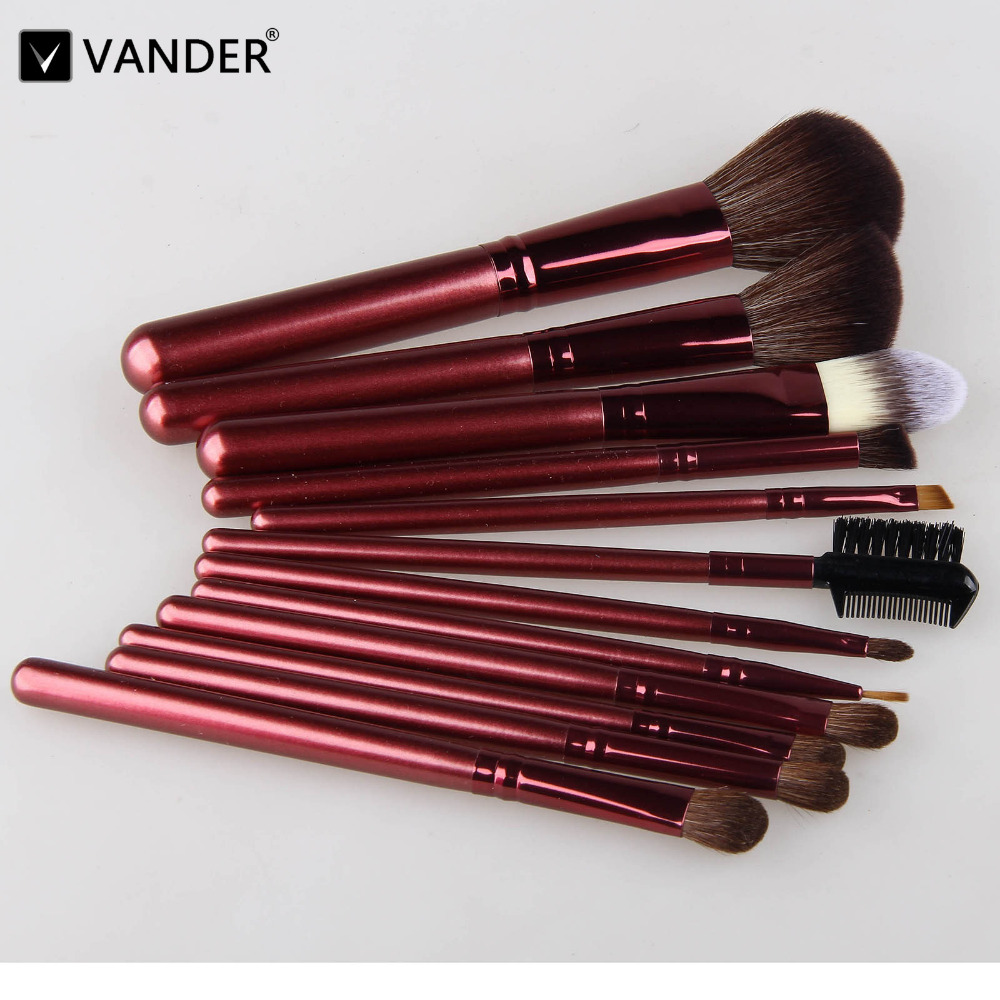 Vander 12Pcs Brushes Set Professional Soft Makeup Foundation Brush For Eye Face Shadows Lip Liner Powder Make Up Cosmetic Tools free shipping durable 32pcs soft makeup brushes professional cosmetic make up brush set