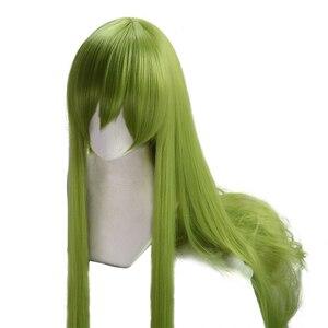 "Image 2 - גורל גרנד סדר קוספליי Enkidu פאה ירוק ארוך ישר פאה 90 ס""מ פאה ארוך עבור תלבושות המפלגה סינטטי שיער"