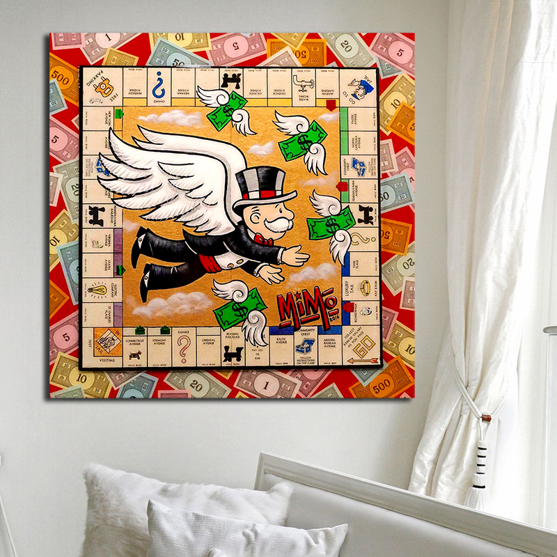 Alec Monopolyingly Angel Street Art Money With Wings Canvas Painting Wall Poster Picture Print Decorative Living Room Home Decor Painting Calligraphy Aliexpress