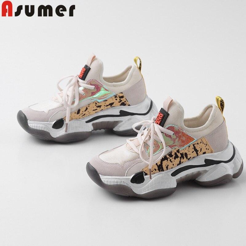 ASUMER grande taille 35-42 lacet de mode up chaussures en cuir de vache femmes Marchant Chaussures Chaude De Luxe chaussures de papa Sneakers femmes 2019
