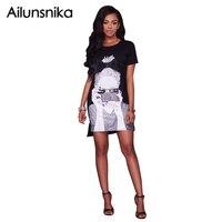 Ailunsnika Summer 2017 Black White O Neck Short Sleeve Casual Shirt Dress Women Character Beauty Print