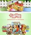 Cartoon animal bedtime story Pinocho elephant cute wooden jigsaw puzzle game iron box baby birthday gift free shipping 60pcs/set
